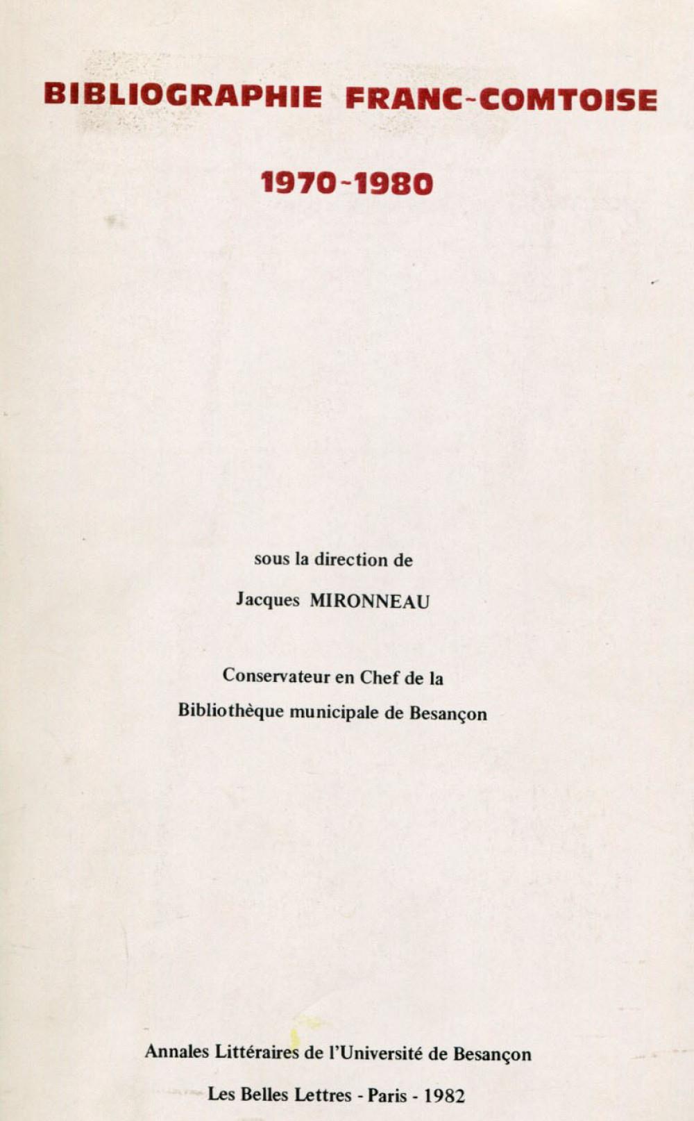 Bibliographie franc-comtoise (1970-1980)