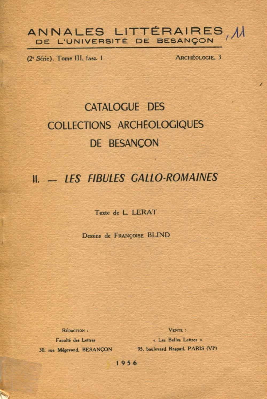 Catalogue des collections archéologiques de Besançon II
