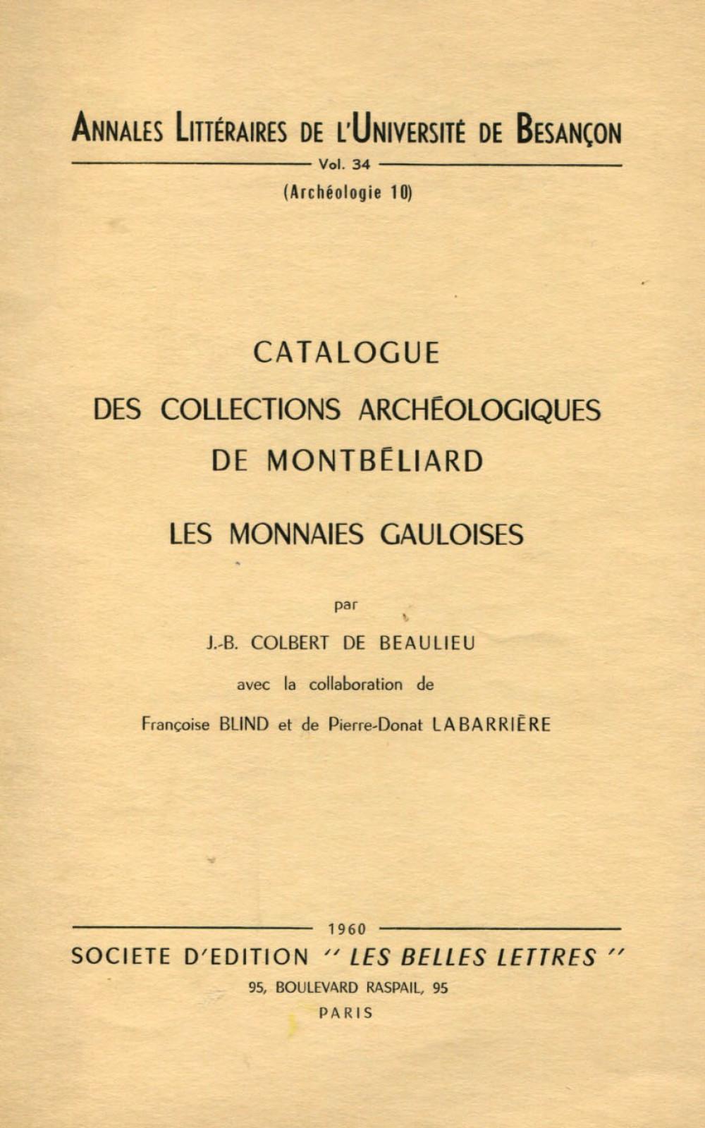 Catalogue des collections archéologiques de Montbéliard