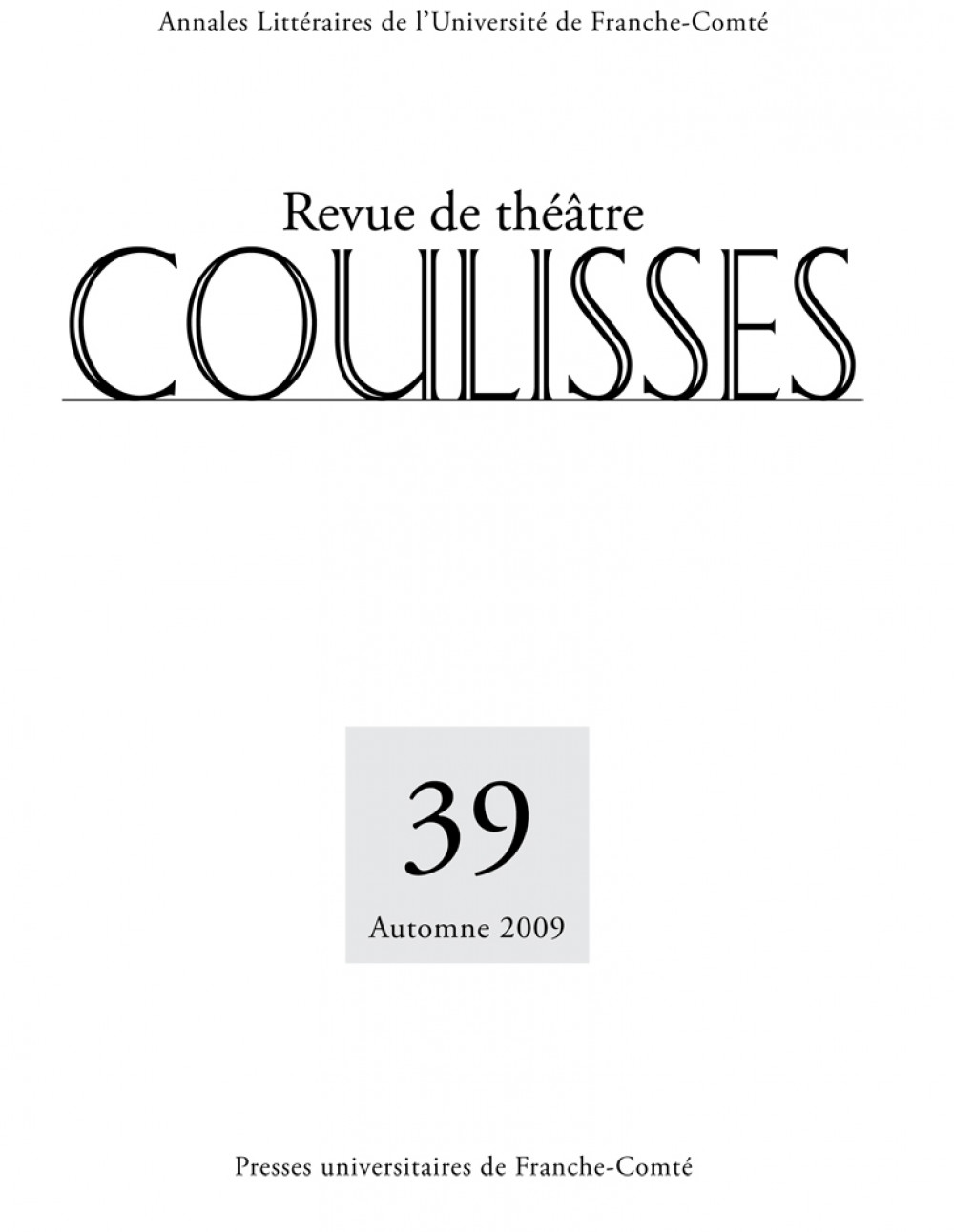 Coulisses 39