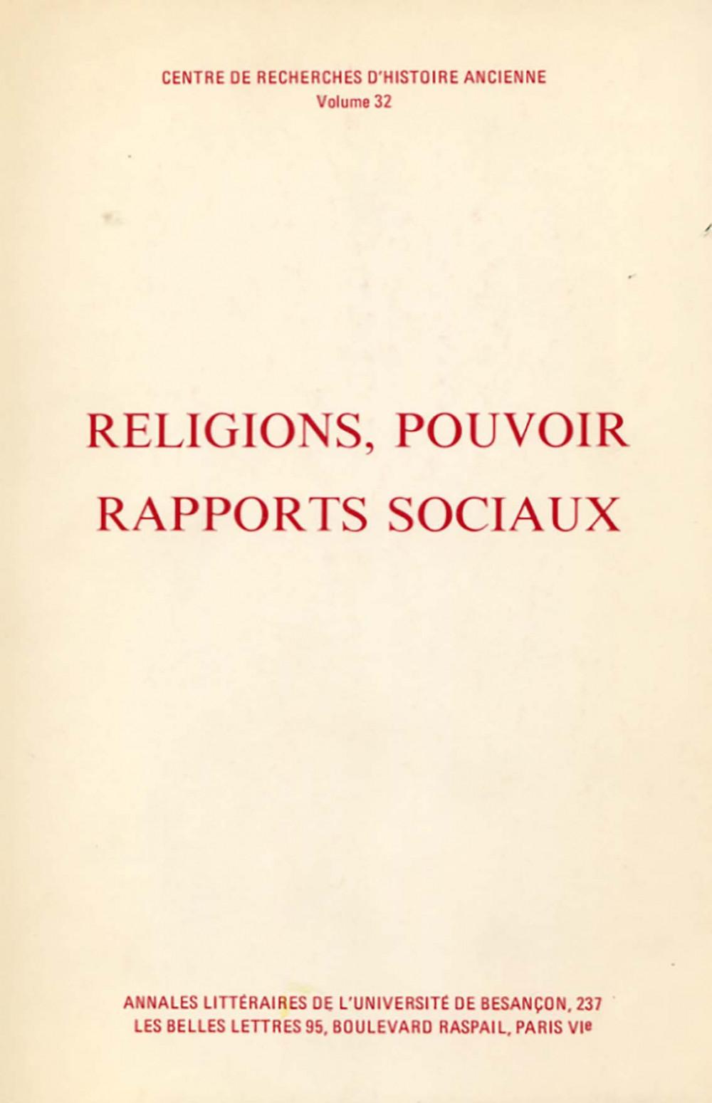 Religions, pouvoir, rapports sociaux