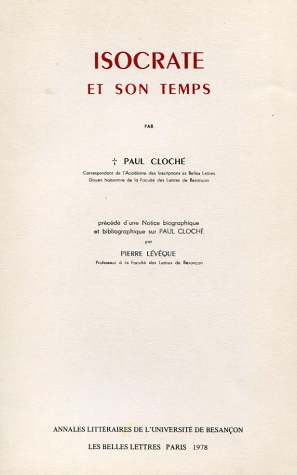 Isocrate et son temps