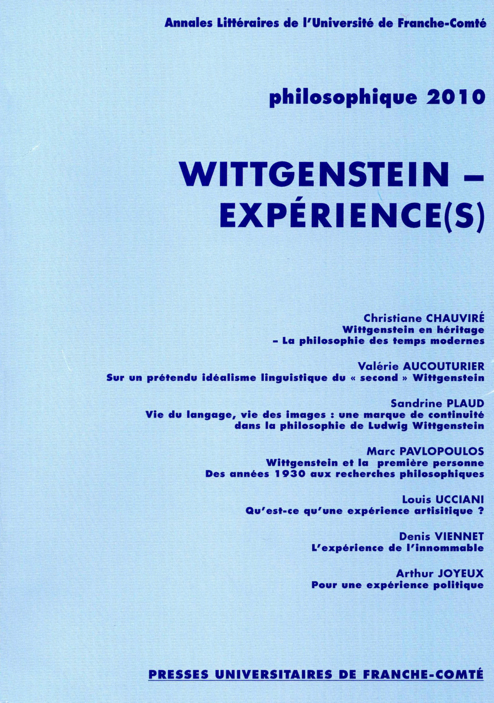 Philosophique 2010 : Wittgenstein