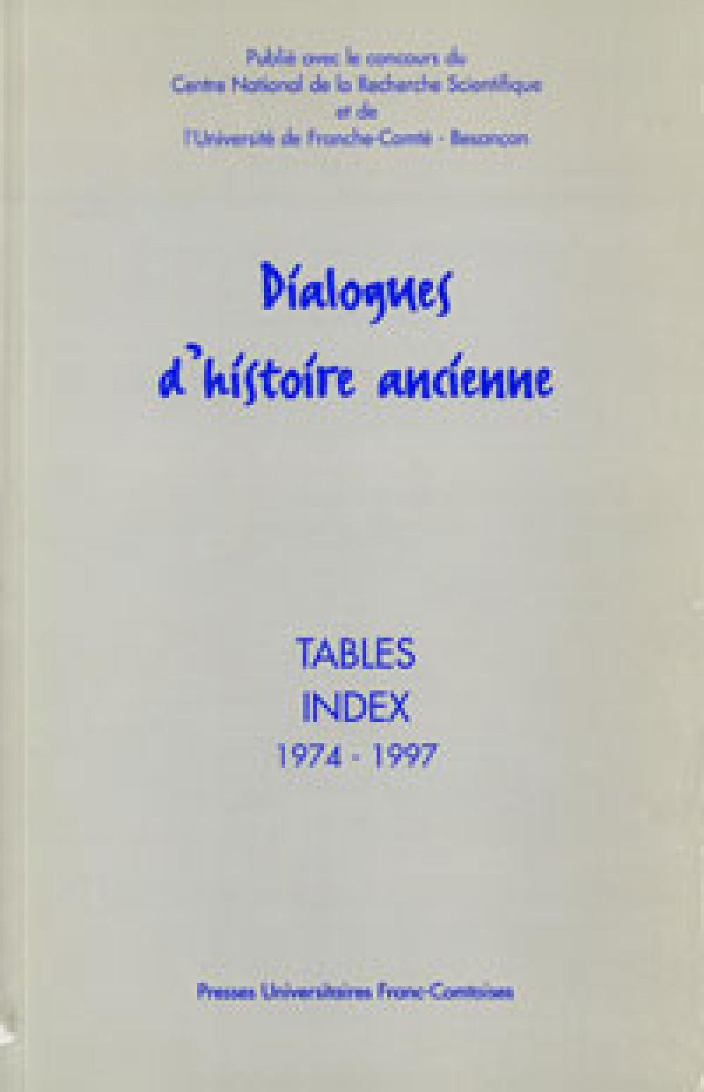 Dialogues d'Histoire Ancienne, Index (1974-1997)