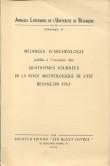 Mélanges d'archéologie publiés à l'occasion des 4ème journées de la Revue Archéologique de l'Est, Besançon 1957
