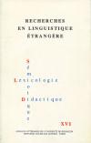 Recherches en Linguistique Etrangère XVIII