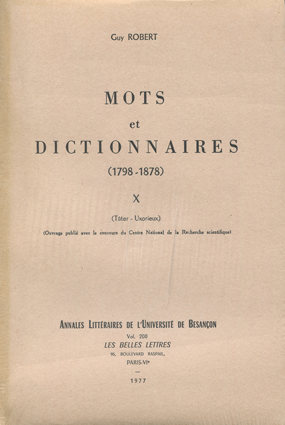 Mots et dictionnaires X (1798-1878)