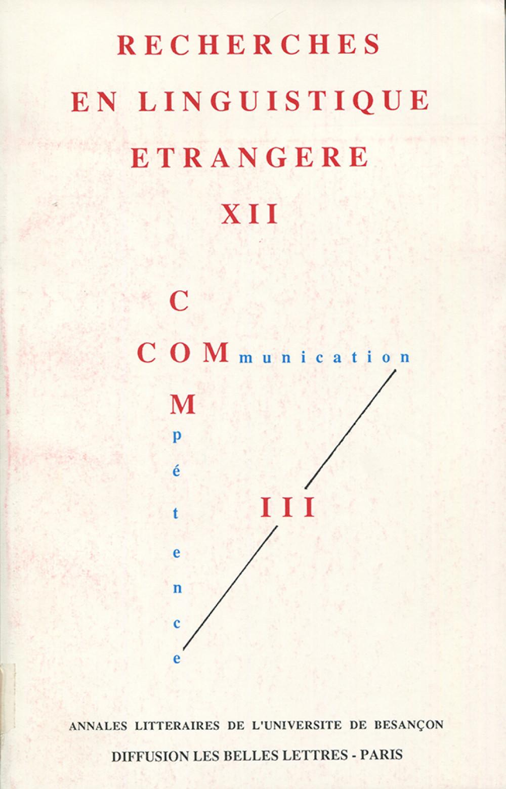 Recherches en linguistique étrangère XII