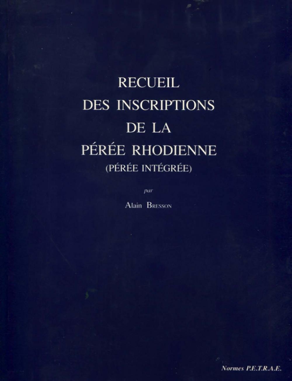 Recueil des inscriptions de la Pérée Rhodienne