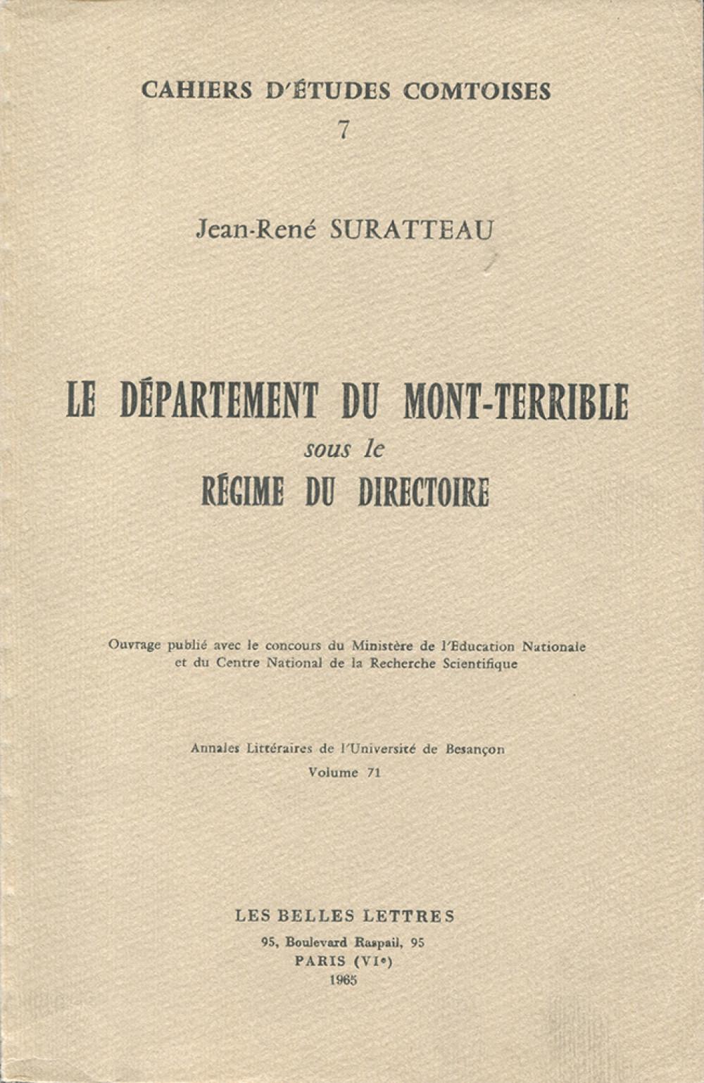 Le Département du Mont-Terrible sous le régime du Directoire (1795-1800)
